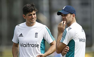 Alastair Cook (left) and James Anderson (right) during a practice session at Lord's.