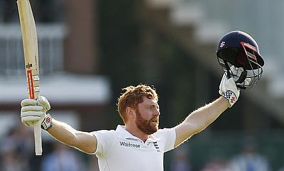 Jonny Bairstow celebrating his century against Sri Lanka on day one at Lord's.