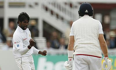 Pradeep strikes thrice after Sri Lankan batting collapse
