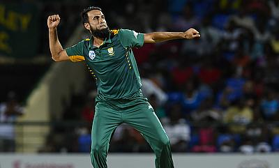 Imran Tahir celebrating his seven-wicket haul against West Indies in St Kitts.
