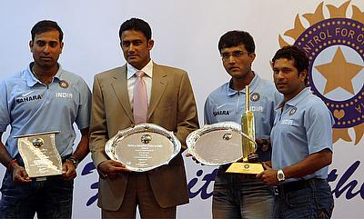 The cricket advisory committee of BCCI consisting of VVS Laxman (left), Sourav Ganguly (2nd right) and Sachin Tendulkar (right) will help the board fi