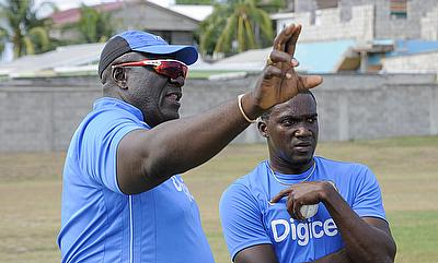 Jerome Taylor (right) picked just two wickets from four games in the tri-series.