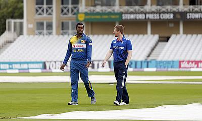 Eoin Morgan and Angelo Mathews at Trent Bridge