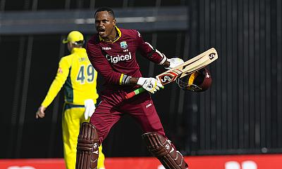 Marlon Samuels' (right) knock of 125 went in vain for West Indies.