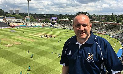 Kev shows off the view from the Skyline Terrace as England and Sri Lanka warm up