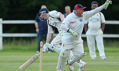 Bowdon Vale celebrate run out of Mark Rowe