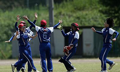 Japan celebrate a wicket on home soil