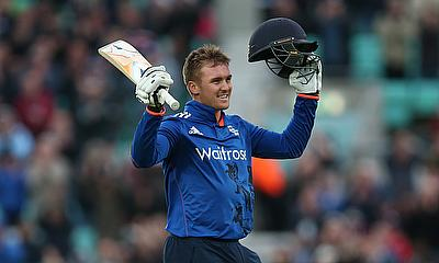 Jason Roy celebrating his century in the fourth ODI against Sri Lanka at The Oval.