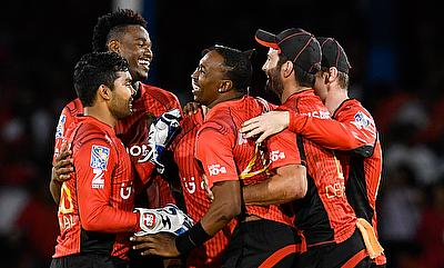 Trinbago Knights celebrating their victory over Barbados Tridents.