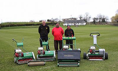 Bob Carder and his team with their range of Dennis Mowers