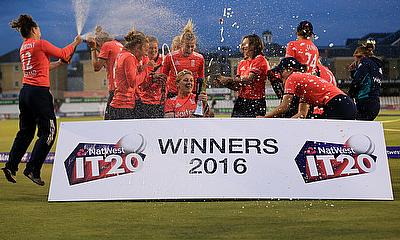 England Women team celebrating the 3-0 series victory.