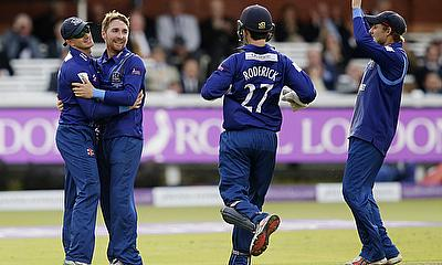 Gloucestershire players celebrate a wicket