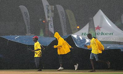 Only 10 overs of play was possible in the game before heavy rains lashed out.