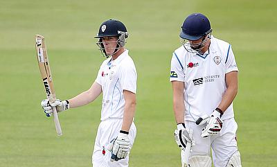 Ben Slater's (left) unbeaten 148 went in vain for Derbyshire.