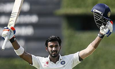 Lokesh Rahul scored his third Test century in Jamaica on day two.