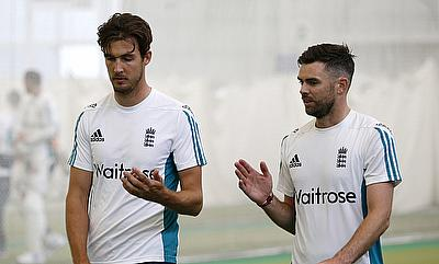 Steven Finn (left) and James Anderson (right) in a practice session ahead of the third Test against Pakistan.