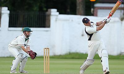 Graham Bolton hitting a six to win Over 40s match against Urmston
