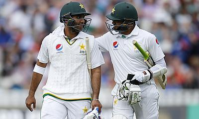 Sami Aslam (left) and Azhar Ali (right) shared 181-run stand for second wicket