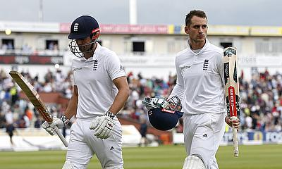 Alastair Cook (left) and Alex Hales (right) shared an unbeaten 120-run stand.