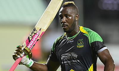 Andre Russell celebrating his century in the third playoff game against Trinbago Knight Riders