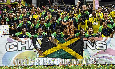 Jamaica Tallawahs celebrating their CPL victory.