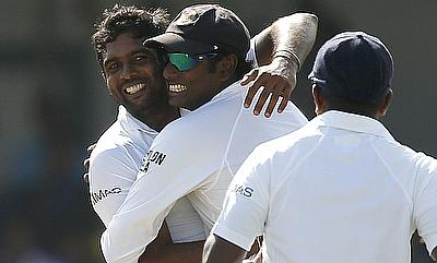 Dilruwan Perera (left) picked 10 wickets and scored a fifty as well.