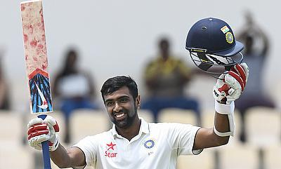 Ravichandran Ashwin celebrating his fourth Test century.