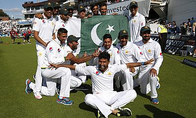 Pakistan players celebrate their win in the fourth Test