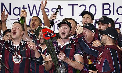 Northants Steelbacks players celebrate their NatWest T20 Blast victory