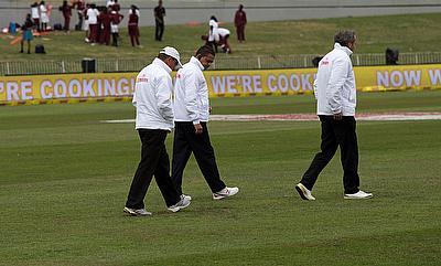 Wet Outfield continued to remain a worry for the officials.