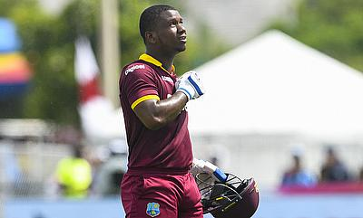 Evin Lewis celebrating his maiden T20I century.