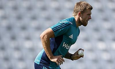 David Willey in action during nets ahead of the fourth game in Leeds.