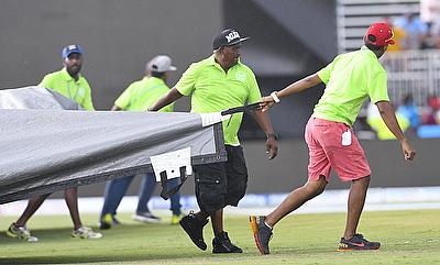 The second T20I between India and West Indies was eventually abandoned due to rain.