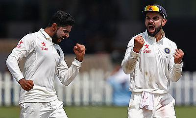 Ravindra Jadeja (left) picked a five-wicket haul for India