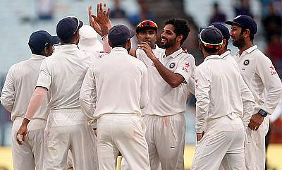 Bhuvneshwar Kumar celebrating the wicket of New Zealand's Matt Henry on day two of second Test