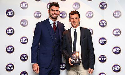 Adam Wilson receiving the NatWest CricketForce Award