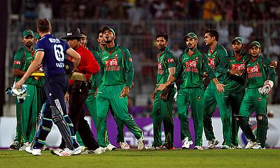 Jos Buttler (left) was seen in a heated confrontation with the Bangladesh players after he was dismissed in the second ODI