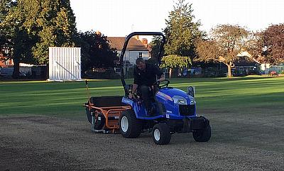Keith Exton at Work on Bourne CC Square