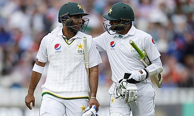Sami Aslam (left) and Azhar Ali (right) added 215 runs for the first wicket.