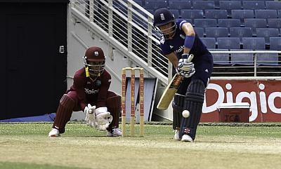 Lauren Winfield (right) in action during the third ODI against West Indies in Jamaica