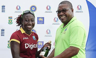 Stafanie Taylor (left) was presented with the player of the match award