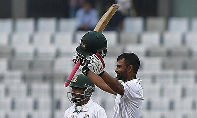 Tamim Iqbal (left) celebrating his century on day one of Dhaka Test