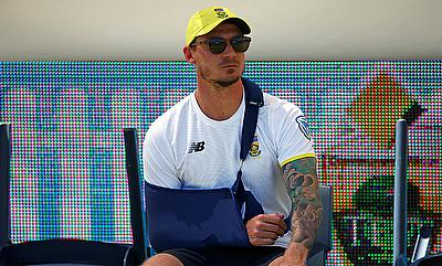 Injured South African bowler Dale Steyn sits on the boundary before the start of play at the WACA Ground in Perth