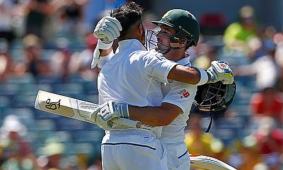 Dean Elgar (right) and JP Duminy (left) in action for South Africa on day three