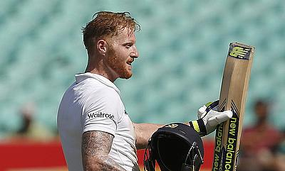 Ben Stokes celebrating his century in the first Test against India in Rajkot