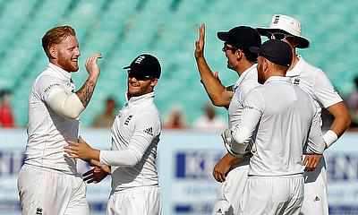Ben Stokes and England celebrating the wicket of Cheteshwar Pujara
