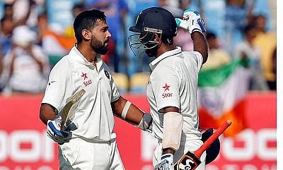 Cheteshwar Pujara (right) and Murali Vijay (left) scored centuries for India