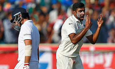 Ravichandran Ashwin (right) celebrating the wicket of Joe Root (left)
