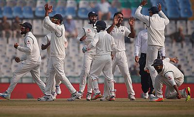 Indian players celebrating the wicket of Jos Buttler on the final day of the Mohali Test