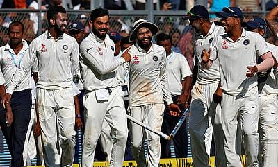 Indian players celebrating the win over England in fourth Test in Mumbai